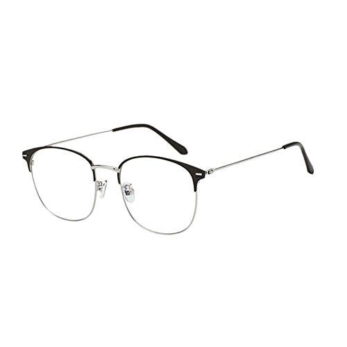 Meijunter Anti Blue Light Brille - Computer Spiel Video TV Klar Linse Gläser Metall Square Rahmen Männer Frauen Optical Goggle (Grau+Silber)