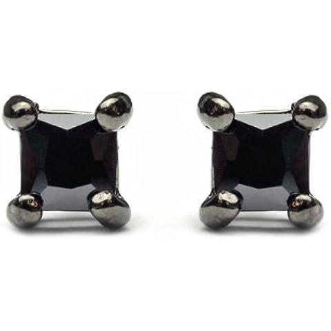 3mm quadrato orecchini a perno in strass ematite tono sst-he5