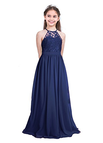 Tiaobug Mädchen Kleid Kinder festlich Spitzen Langes Kleid Hochzeit Partykleid Blumenmädchenkleid...