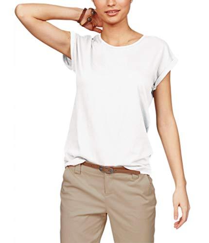 TrendiMax Damen T-Shirt Einfarbig Rundhals Kurzarm Sommer Shirt Locker Oberteile Basic Tops (Weiß, M)