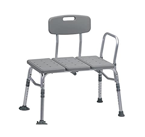Drive Medical Plastic Adjustable Transfer Bench with Backrest & Suction