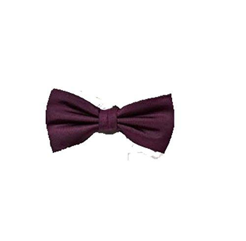 Neuf Noir Satin Homme Mariage Déguisement Fête Uni cravate cravate Noeud papillon Violet - Violet foncé