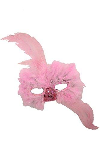 Pailletten Maske in rosa Maske mit Federn Kostüm (Rosa Maske Feder Kostüme)
