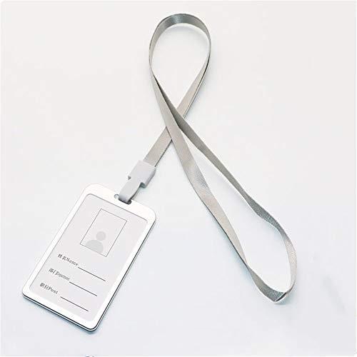 Nuoyi 10 Büro-Abzeichen-Halter doppelseitige Aluminium-Abzeichen-Kartenhalter Brieftasche mit abnehmbarem Halsband/Ticket Exquisite Verarbeitung,Silver (Aluminium-abzeichen-halter)