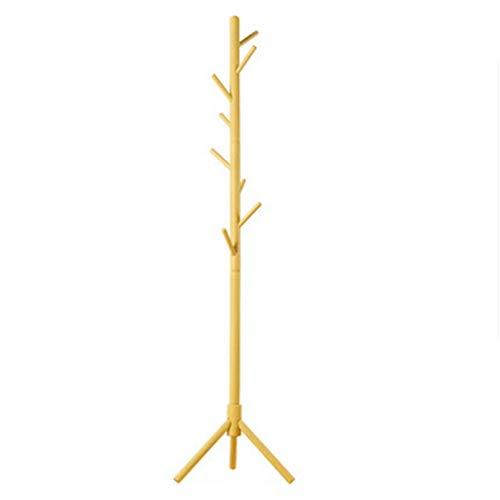 Zj-appendiabiti appendino da camera da letto semplice appendiabiti da terra in legno massello semplice appendiabiti singolo (colore : giallo)