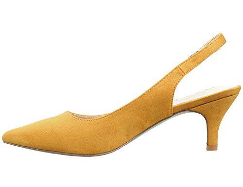 Greatonu Chaussures Femme Escarpins Sandales Suédé Mi Talon EU 36-41 Jaune