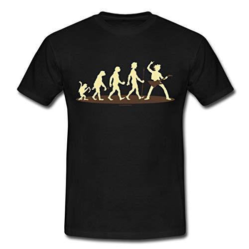 (Spreadshirt Evolution E Gitarre Rock Rahmenlos Geschenk Männer T-Shirt, L, Schwarz)