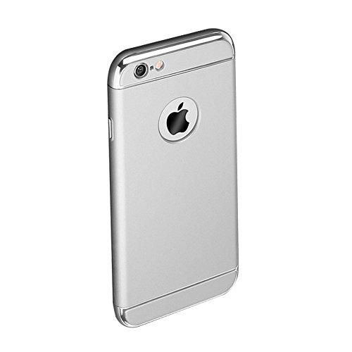 Custodia per Apple iPhone 7 Plus (5.5) Cover,Herzzer Mode Creativo Elegante Hard PC 3-in-1 Placcatura Opaco plating Rosso Bumper caso,protettiva in plastica duro della copertura ha placcato il Cassa  Argentato