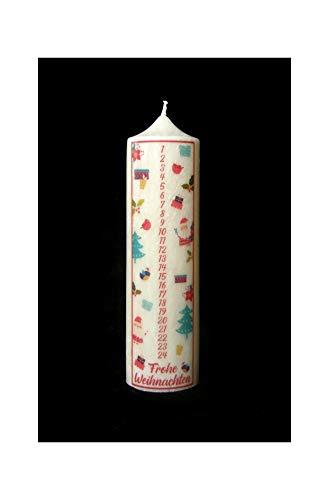 Candle making Stearin Kalenderkerze 200/60 mm Adventskerze Adventskalender Santa-Kerze mit Zahlen 1-24 Weihnachtskerze Stearinkerze