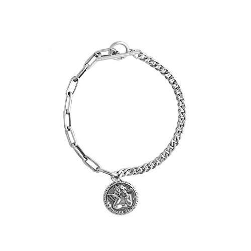SHOUSHI Frauen Natürliche 925 Silber Geometrische Handarbeit Armband S925 Ganzen Körper Silber Engel Armband Vintage Alte Handwerk Schnalle Runde Kette, 925 Silber