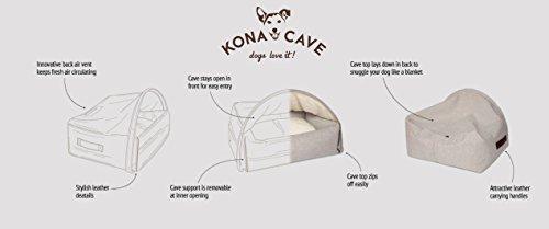 Kona Cave – Eine Kuschelhöhle für ihren Hund, Luxus Hundebett zum reinkriechen, klassisch, elegant, hochwertig, das beste Bett für Hunde, die gerne unter die Decke kuscheln (Klein, Flanell, Grau) - 4