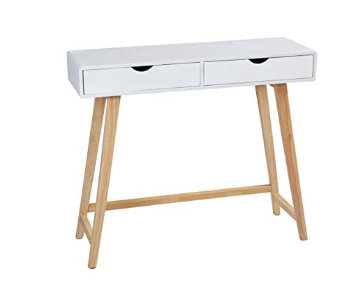Wholesaler GmbH LC Home Konsolentisch Konsole mit Zwei Schubladen Holz weiß Natur in skandinavischem Stil