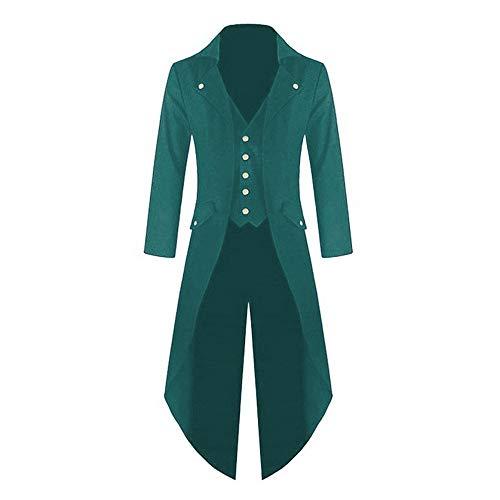 Cysincos Herren Vintage Jacke Langer Mantel Frack Steampunk Gothic Männer Smoking Jacke Uniform Anzug Lang Viktorianischen Fasching Karneval Cosplay - Grüne Smoking Für Erwachsene Kostüm