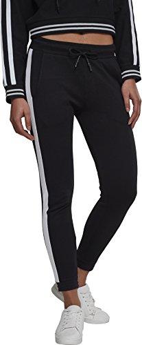 Urban Classics Damen Ladies Interlock Joggpants Sporthose, Schwarz (Black/White 00826), 34 (Herstellergröße: XS)