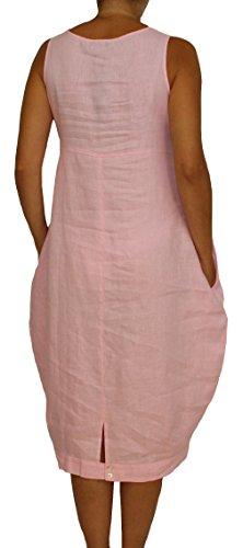 24098 Mesdames, Dames, Femmes robe en lin longue, sans manches, morceau de ballon, M, L, XL, XXL. rose clair