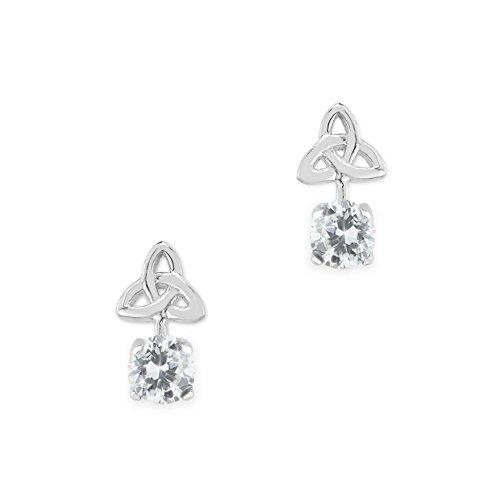 Trinity Knot - Keltische Ohrstecker - Sterling Silber und Kristall aus Schottland