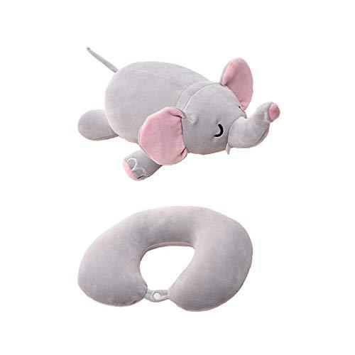 Yuccer Reisekissen Memory Foam Flugzeug Neck Pillow für Reisen Büro und Zuhause Nackenkissen mit Stützender Funktion Nackenhörnchen Plush Toy (Elefant)