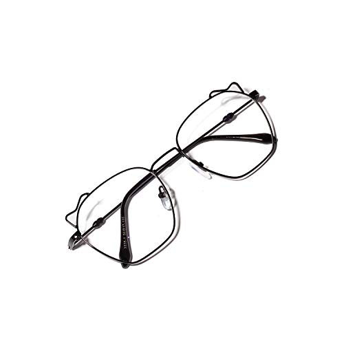 Retro Cat Eyes Brillen, runde klare Gläser unisex Anti-Radiation-Brille mit nicht verschreibungspflichtigen schlanken Metall Brillengestell (Color : Black, Size : M)