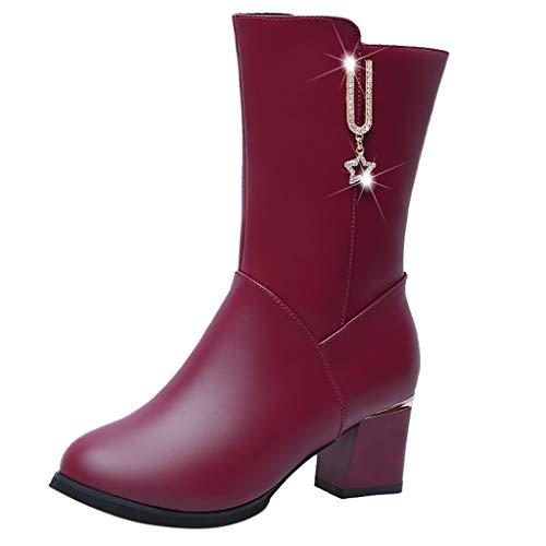 LILIHOT Frauen Fashion Square Stiefel Leder Reißverschluss Warm Stiefel Round Toe Schuhe Stiefeletten Damen Leder mit Absatz High Heels Boots Chunky Ferse Slip auf Single Booties Student -