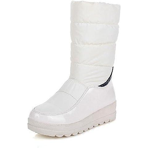 PurF&Tree botas de los zapatos de las mujeres del dedo del pie redondo bajo talón mediados de CLAF con división conjuntas de deslizamiento-en más colores , black-us5.5 / eu36 / uk3.5 / cn35 , black-us5.5 / eu36 / uk3.5 /