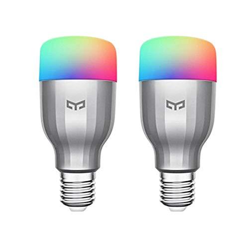 Application vocale pour ampoule Yeelight 9W RGB WiFi à intensité variable compatible avec Alexa et Google Assistant (2-Pack)