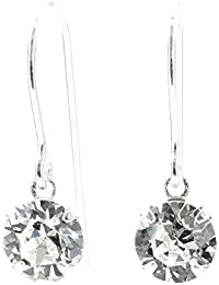 pewterhooter 925 Sterling Silver fishhook earrings made with sparkling Diamond White crystal from SWAROVSKI® for Women