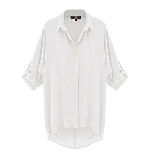ISASSY - Chemisier - Femme - Mousseline de Soie - Manches Longues - Uni - Blouse - Shirt - Top - Loose - Casual - Blanc Taille L