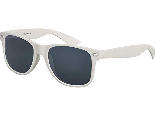 Balinco Hochwertige Nerd Sonnenbrille Rubber im Wayfarer Stil Retro Vintage Unisex Brille mit Federscharnier - 96 verschiedene Farben/Modelle wählbar (Hellgrau - Smoke)