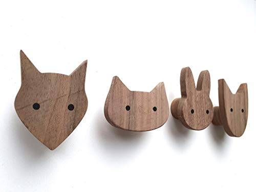 PLT Wandhaken für Kinder aus Holz, Tiere, Kinderzimmer, Fuchs, Hase, Hund, Katze, Deko, Kleiderhaken, Garderobenhaken, Garderobe, Scandi-Style, Geschenkidee
