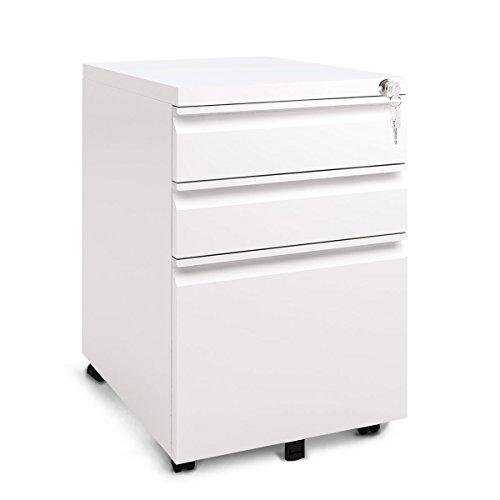 DEVAISE Aktenschränke Weiß, Metall Rollcontainer, Büro-Rollcontainer, Bürocontainer mit Anti-umkippen-mechanismus für A4; 3 Schublade, Mobilen, versperrbare aktenschränke