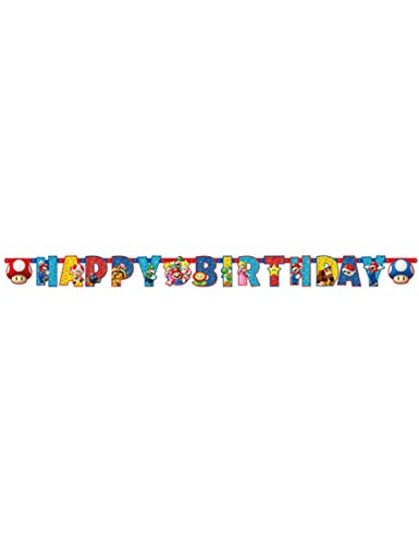 Amscan Girlande Happy Birthday personalisierbar, 190 x 18 cm, Supermario, mehrfarbig, 7AM9901542