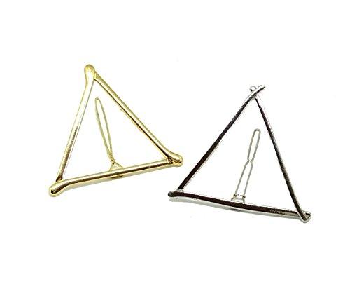 EROSPA® Stylische Haarnadel Haar-Spange Dreieck Damen Mädchen Zopf Gold Silber (Silber)