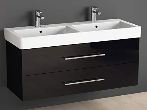 Aqua Bagno Badmöbel 120 cm inkl. Keramik Doppelwaschtisch/Badezimmer Möbel mit Doppel-Waschbecken...
