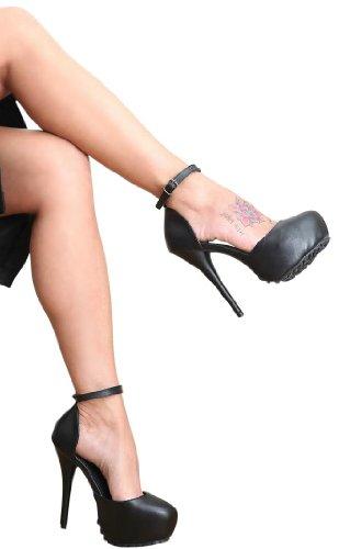 Erogance  Kunstleder Plateau High Heels, Escarpins pour femme Noir - Noir