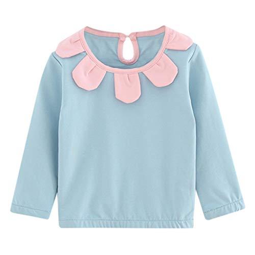 Xshuai Kleinkind Kind Baby Mädchen Kleidung Langarm Blumen Pullover T-Shirt Tops (18-24 Monate, Blau) (Junior Kleidung Bluse)