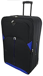 "Large 29"" Lightweight Luggage Wheeled Trolley Suitcase Case L Travel Bag (2119 - Black & Blue)"