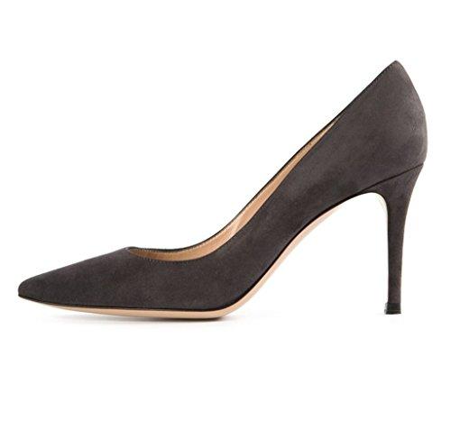 EDEFS Damenschuhe Spitzschuh 80mm Patent Pumps Beleg auf Frühling Schuhe Darkgrey