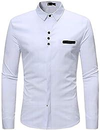 Blusa de Hombre BaZhaHei Camisetas de Hombre Abierta de Color sólido Lino Casual  para Hombres del Camisas de Manga Larga para Hombre… b415ec770331