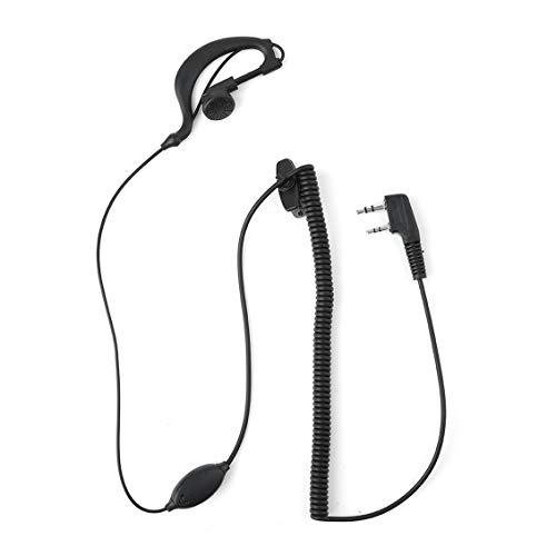 ForceSthrength 2 Pin Mic Headset Ohrhörer Ohrhörer Curly Cable für Kenwood Radio Black Kenwood Radio Headsets