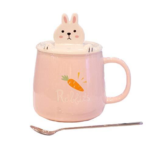 JJLEzlAM Tazas De Desayuno Tazas De Té Creativo Animal Soporte para Teléfono Móvil De Cerámica Taza con Tapa Cuchara Dibujos Animados Lindo Estudiante Pareja Regalo Taza