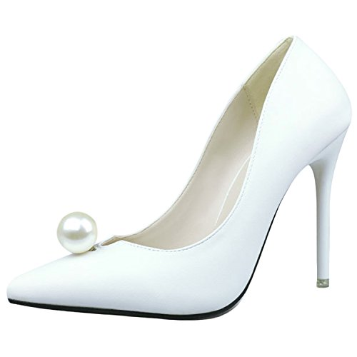 Oasap Women's Pointed Toe Pearls Low Cut Slip-on Stiletto Pumps White