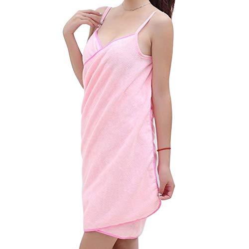 MAyouth Damen Spa Bad Körper Handtuch Wickeln, schnell trockene Dusche Robe - Sexy Plüsch Weichen Frottee-Bademantel mit Riemen (Pink)