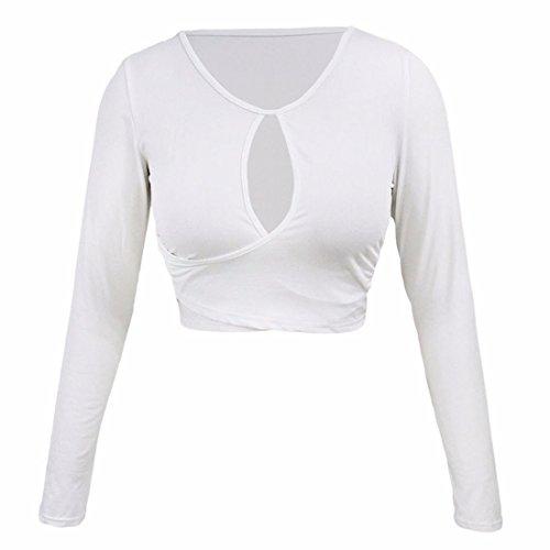 Robe Court Trou De Serrure Envelopper Manches Longues Col Rond Hauts Chemisiers T-Shirt Tee Blanc