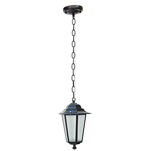 Hdmy vintage lampada a sospensione esagonale in alluminio per esterni e27 led europeo retro impermeabile balcone lampada a sospensione in vetro cannella outdoor patio villa lampadario