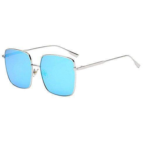 KUDICO Sonnenbrille Unisex Flieger Metallrahmen Verspiegelt Flache Linsen Reflektierende Spiegel Objektiv UV400 Schutz Platz Brillen(G, One Size)