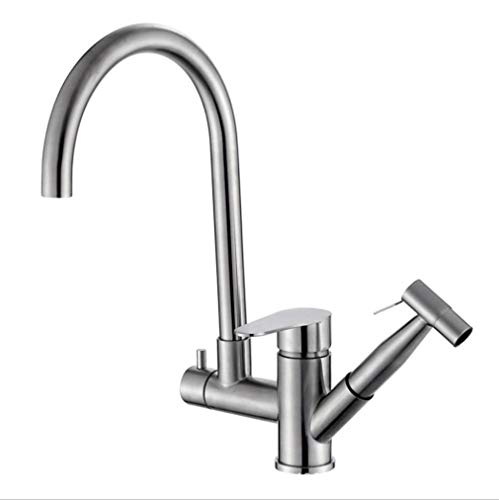 Single Hole Sink Bathroom Tap Tuyau D'Acier Inoxydable Tirant Le Pistolet Multi-Fonctionnel De Cuisine De Robinet De Cuisine De Robinet De Lave-Vaisselle Froid Et Chaud