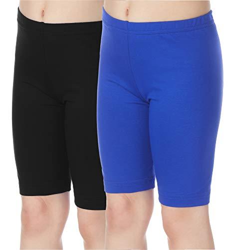 2 Pack Fashion Legging (Merry Style Mädchen Kurze Leggings aus Viskose 2 Pack MS10-132 (Schwarz/Kobalt (2Pack), 152 cm))
