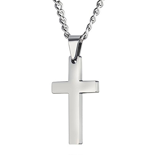 Dünne Halskette Kreuz (Legitta Halskette Damen Herren Edelstahl Kette mit Kreuz-Anhänger Silber Lang Halsband 50cm Modeschmuck-EA0002S)