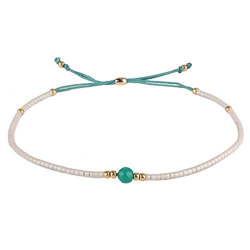 KELITCH Armband Damen Frauen Grau Rocailles Perlen Grün Zart Schnur Freundschaftsarmbänder mit Grün Jade Strangarmband Armbänder Männer