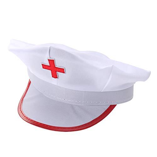 Amosfun Krankenschwester Hut Haube Mütze Krankenschwester Kostüm Zubehör Partyhüte Arzt Kopfbedeckung für Kinder Erwachsene Fasching Karneval Party Cosplay (rot + weiß)